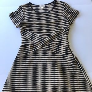 Ann Taylor LOFT Textured Fit and Flare Dress Sz 12